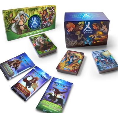 Combo FULL KIT jeu de cartes «Feu contre Terre» + Deck «Clan de la nature» + 3 paquets Extensions