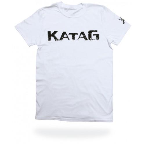 T-Shirt Katag - Adulte - Blanc (KATAG en noir) + logo sur la manche