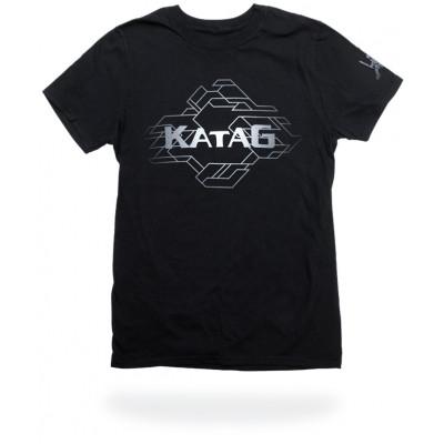 T-Shirt Katag - Adulte - Noir (KATAG et lignes en gris) + logo sur la manche
