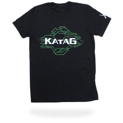 T-Shirt Katag - Adulte - Noir (KATAG blanc et lignes en vert) + logo sur la manche